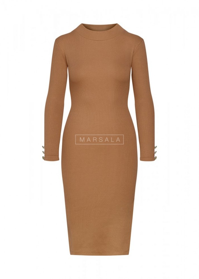 Camel long sleeved dress - GOLD BY MARSALA