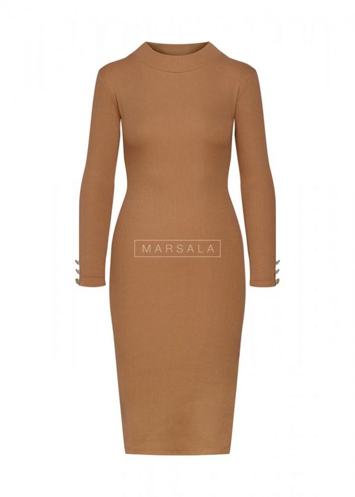 Sukienka w kolorze camel dopasowana z długim rękawem - GOLD BY MARSALA