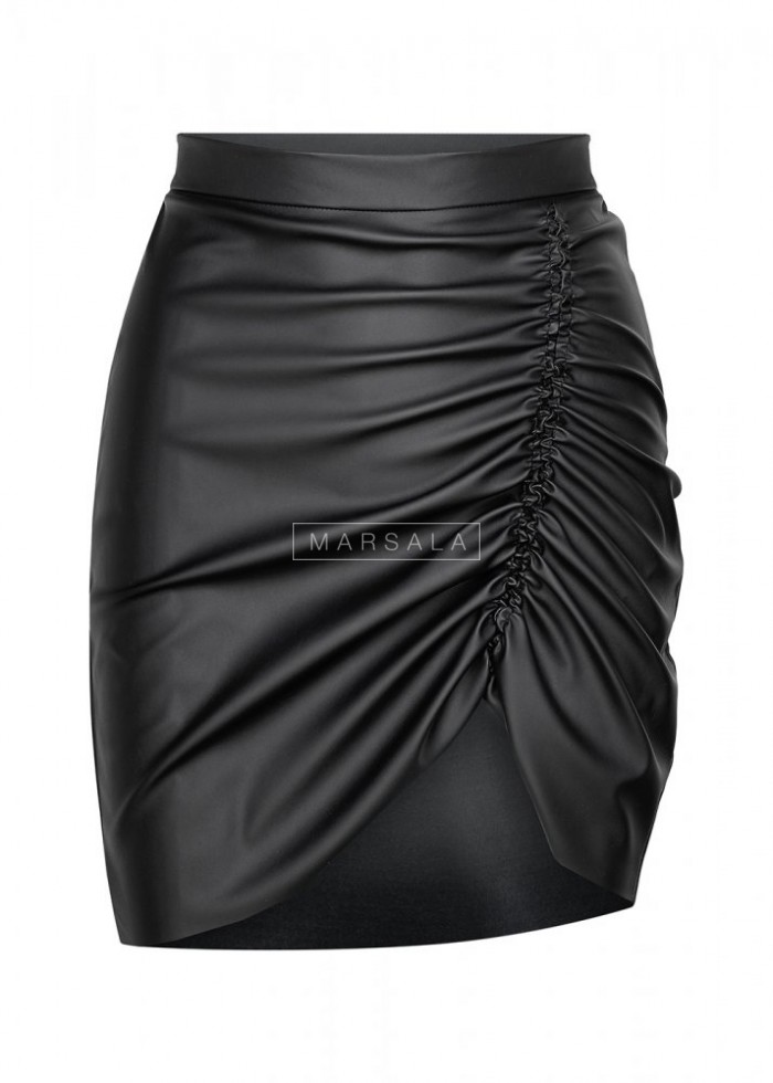 Black creased skirt, asymmetrical COFFEE by Marsala eco leather