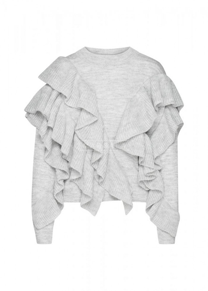 Sweter z asymetrycznymi falbankami szary - FLAMENCO