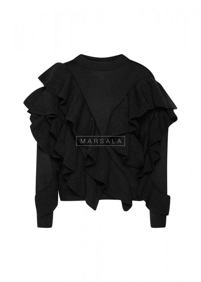 Sweter z asymetrycznymi falbankami czarny - FLAMENCO