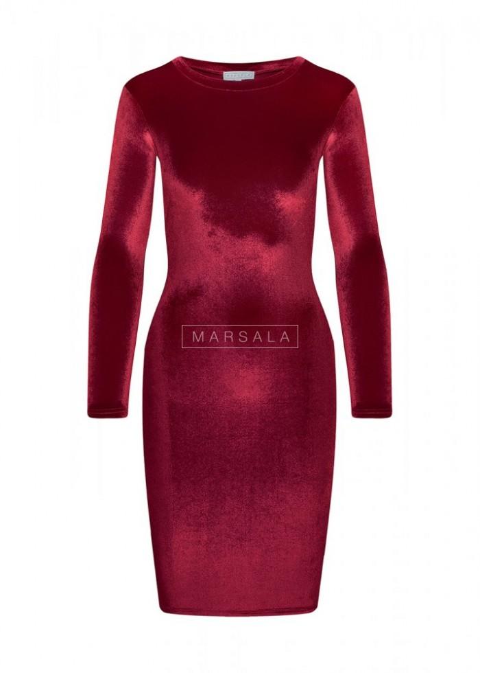 Sukienka KYLIE BY MARSALA welurowa bordo