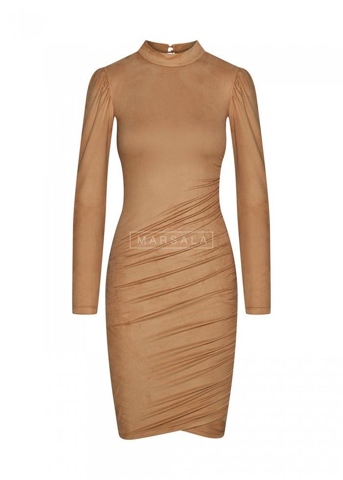 Sukienka z cienkiego zamszu w kolorze beżowym - SWANSEA BEIGE by Marsala