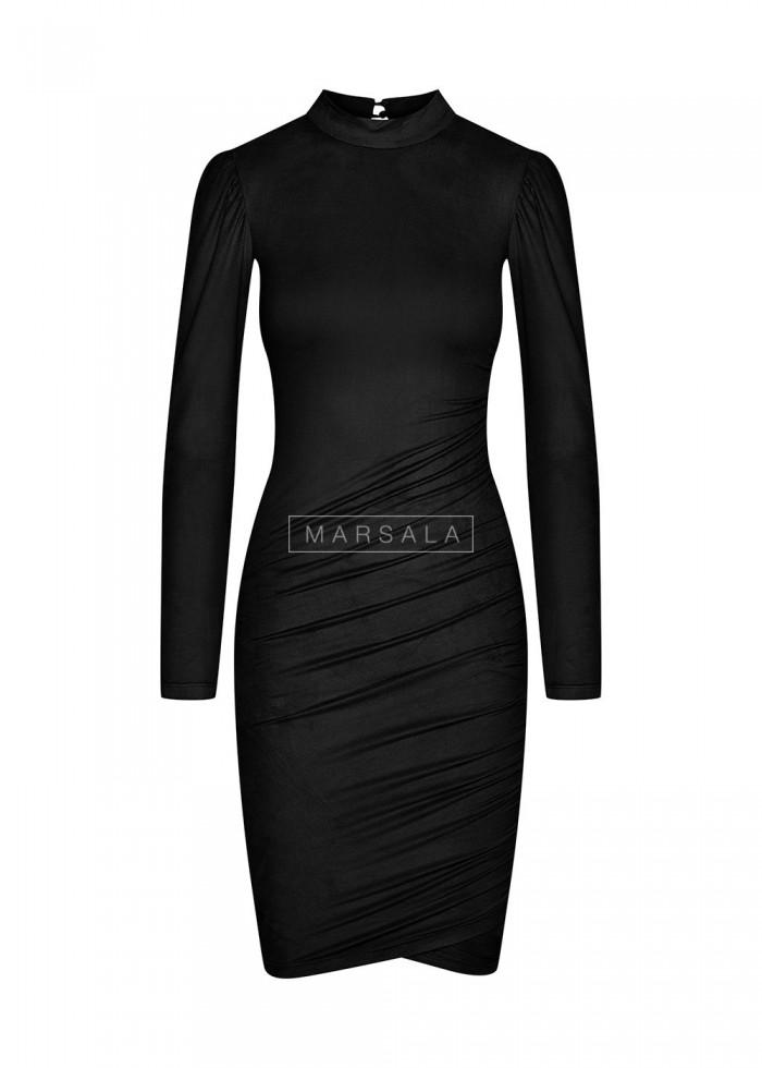 Sukienka z cienkiego zamszu w kolorze czarnym - SWANSEA BLACK by Marsala