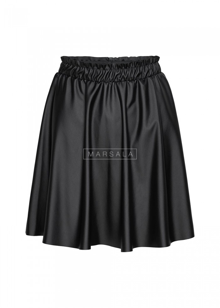 Leather flared skirt FARGO with elastic waist