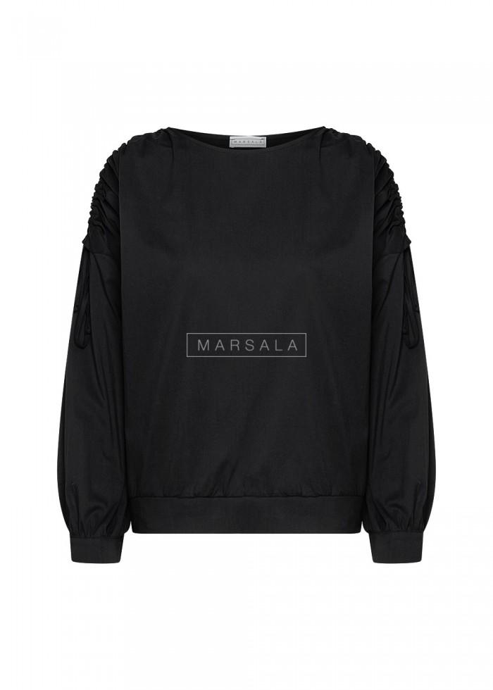 Bluzka z drapowanymi rękawami czarna - LETICIA