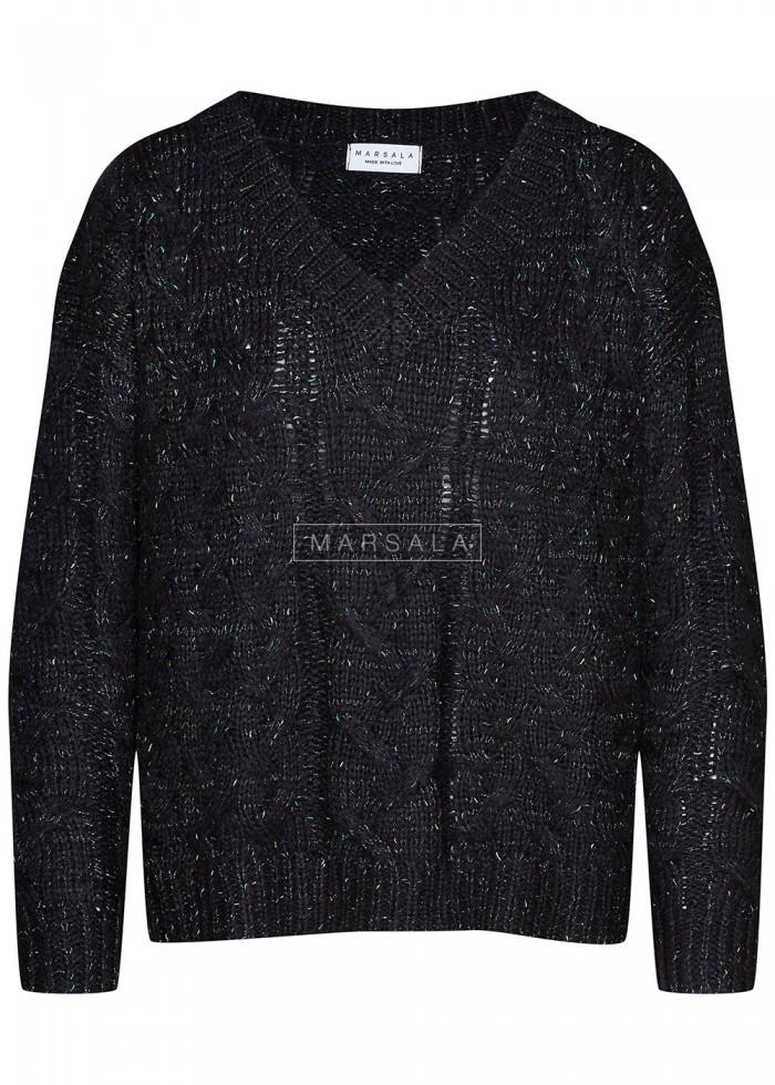 Sweter w warkoczowy splot z ozdobną nitką i dekoltem w kształcie V czarny - ANGIE