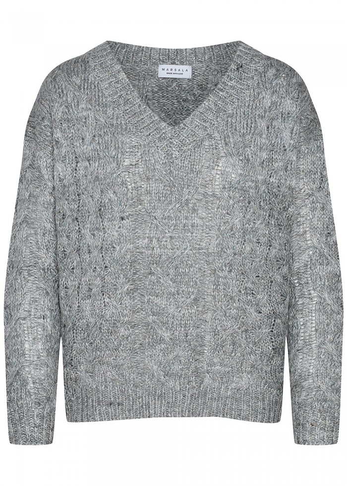 Sweter w warkoczowy splot z ozdobną nitką i dekoltem w kształcie V ciemnoszary - ANGIE