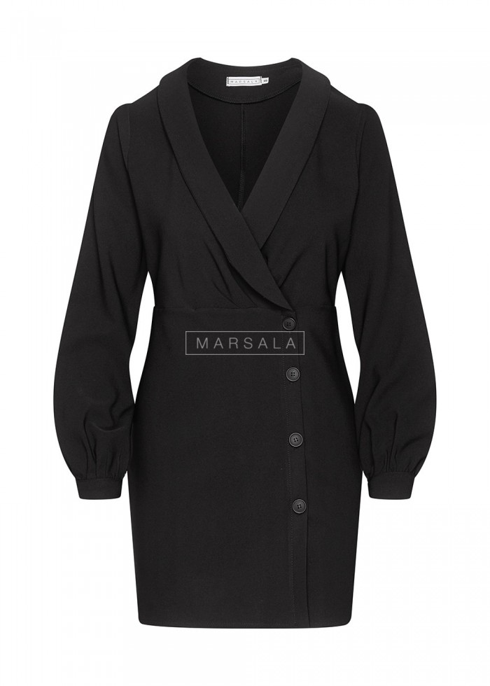 Smooth cocktail dress in black with buttons - FAMOUS by Marsala