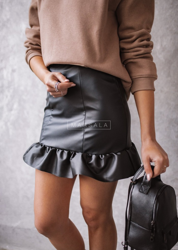 Mini leather skirt FRIEND with ruffle