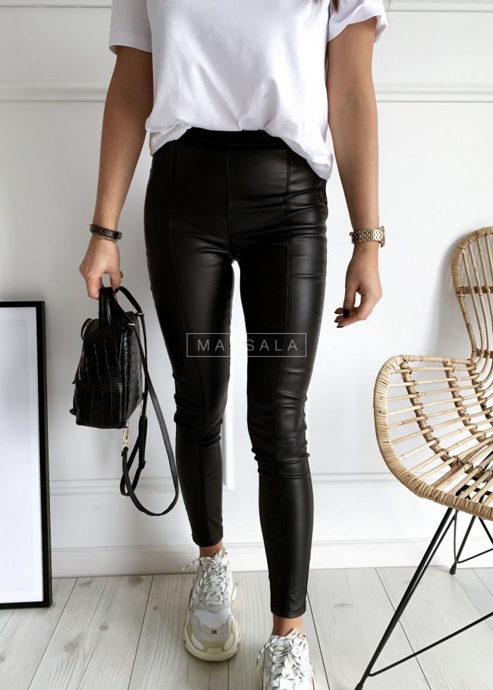 Spodnie woskowane jegginsy z przeszyciami - BLASE