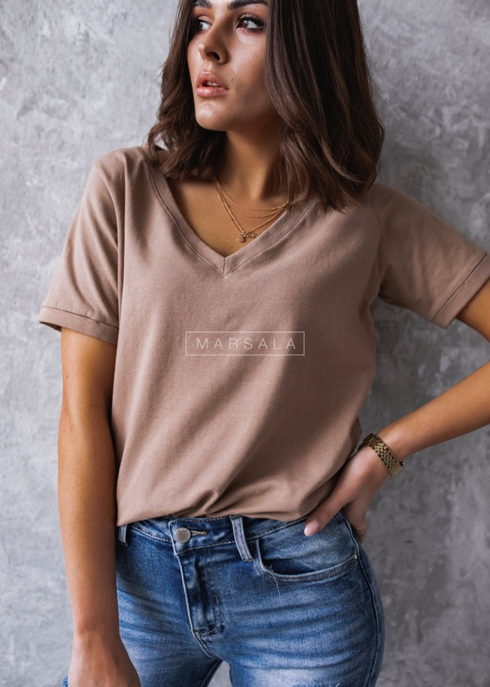 T shirt V NECK BASIC BY MARSALA mocca