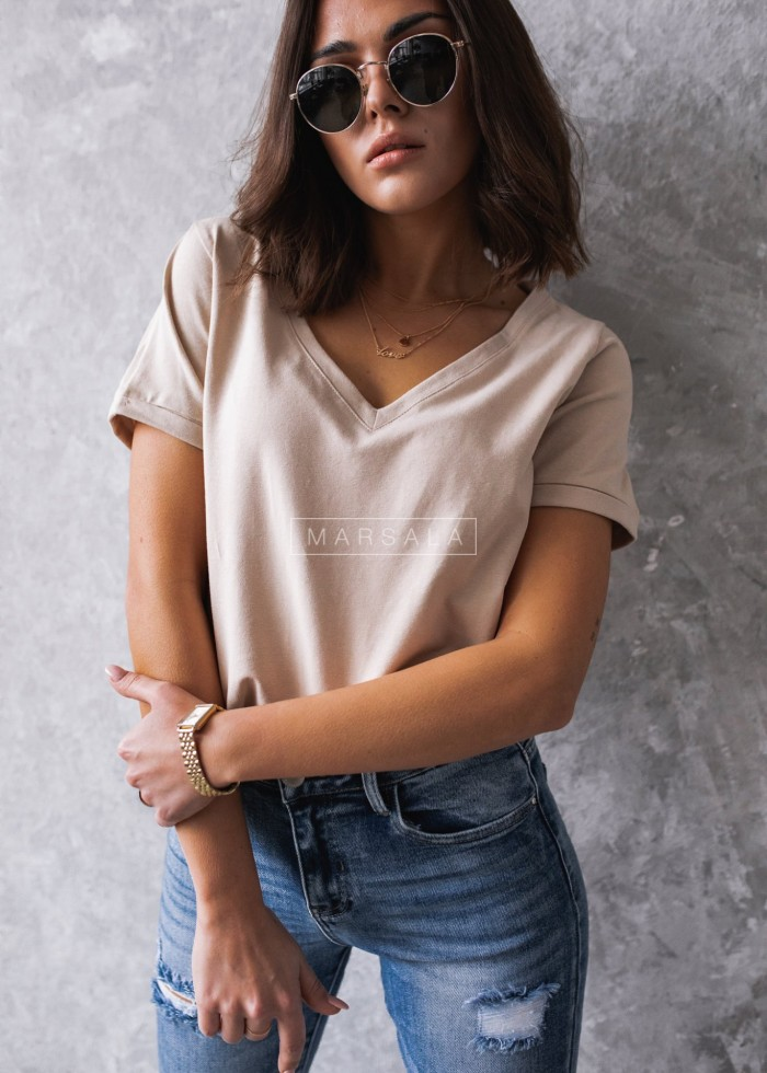 T shirt V NECK BASIC BY MARSALA beżowy
