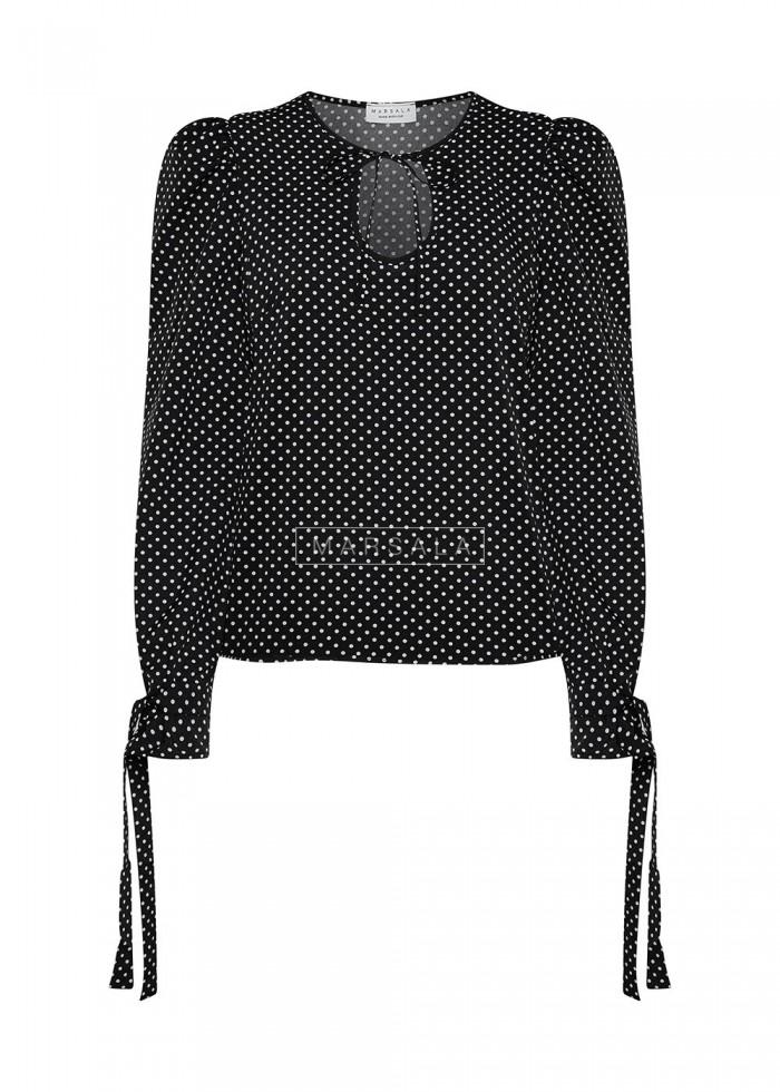 Bluzka czarna w kropki z bufkami i wiązaniem - VENICE PRINT