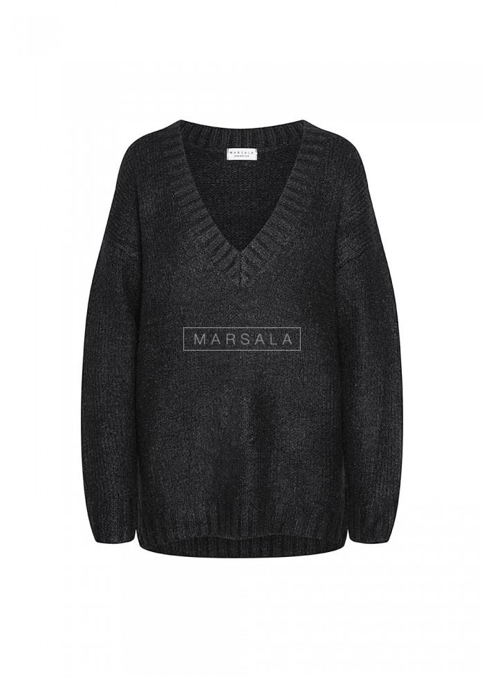 Gruby sweter w kolorze czarnym z dekoltem w kształcie V - COSY
