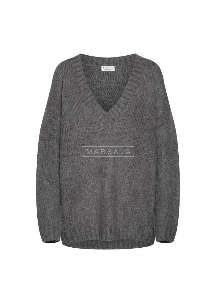 Gruby sweter w kolorze szarym z dekoltem w kształcie V - COSY