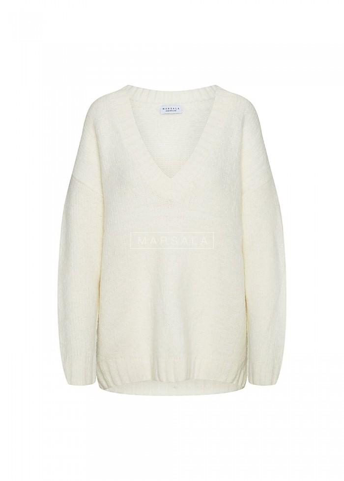 Gruby sweter w kolorze ecru z dekoltem w kształcie V - COSY