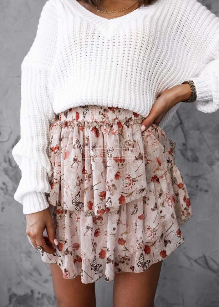 Spódniczka mini z falbankami i nadrukiem pudrowa - BLANCA PINK