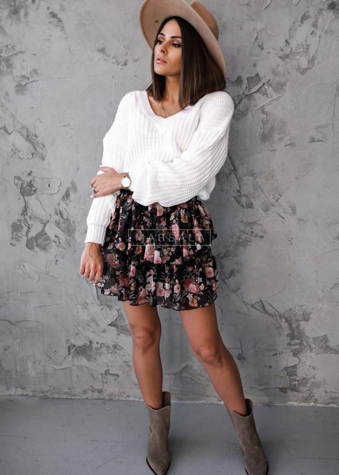 Spódniczka mini z falbankami i nadrukiem czarna - BLANCA BLACK