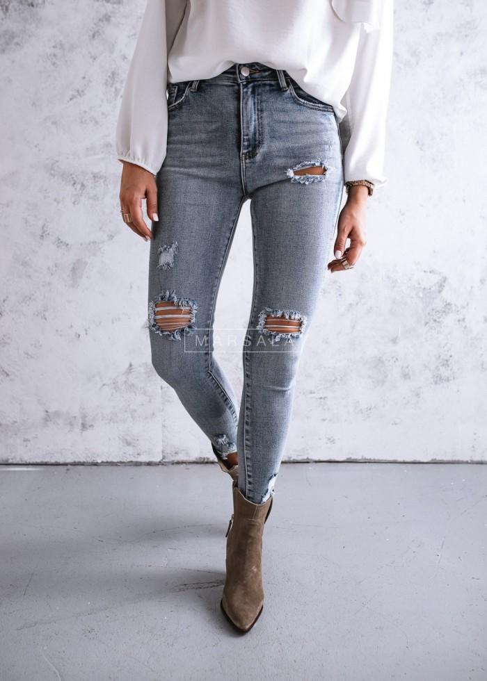 Spodnie jeansowe slim fit z przetarciami - TOM