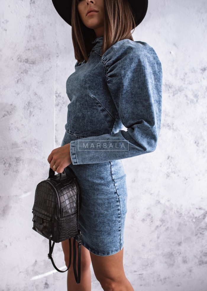 Sukienka CALIFORNIA jeansowa granatowa z bufkami by MARSALA