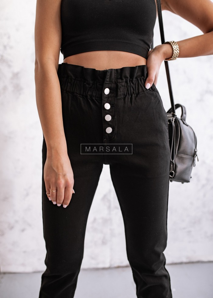 Spodnie typu baggy z falbanką czarne - TOLEDO