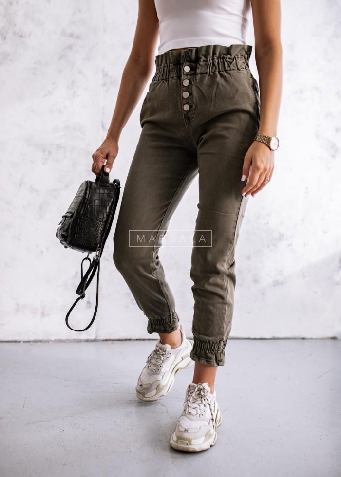 Spodnie baggy z falbanką khaki - TOLEDO
