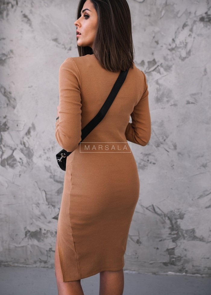 Fitted slit camel dress - KATIE BY MARSALA