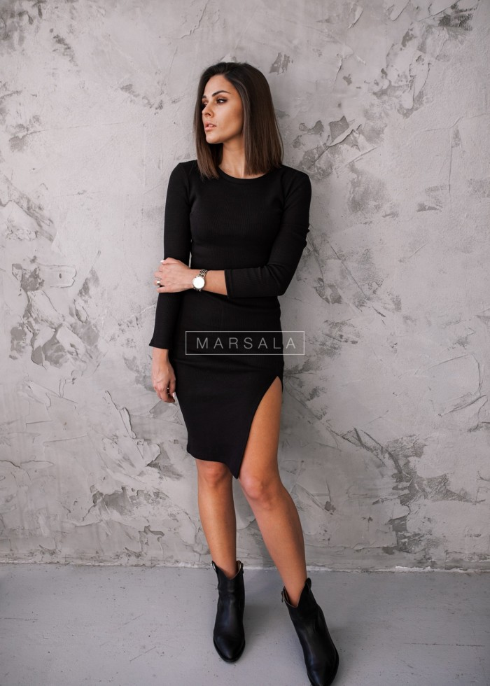 Fitted slit black dress - KATIE BY MARSALA