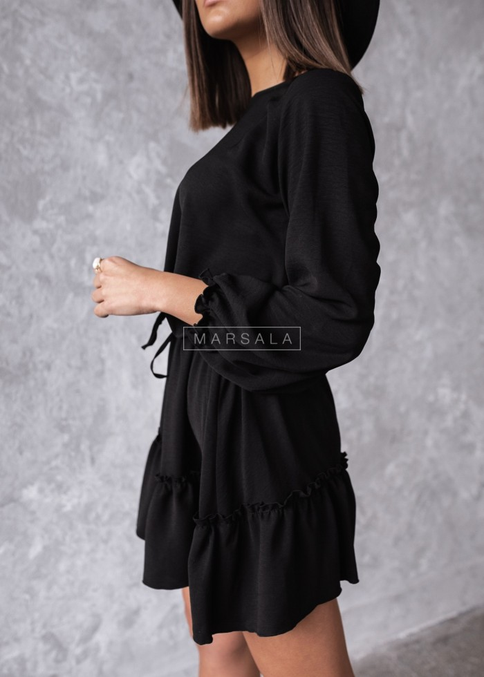 Smooth dress in black with frill - MAYBE by Marsala