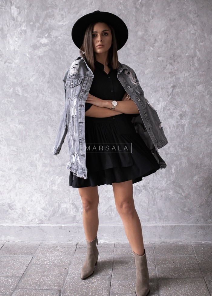 Sukienka koszulowa czarna - VIENNA BY MARSALA