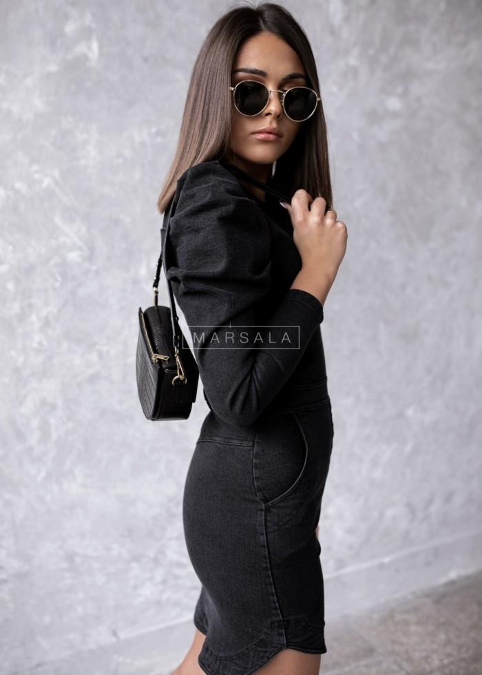 Sukienka sprany czarny jeans z bufkami SALEM