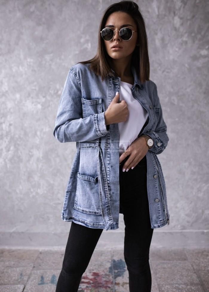 Katana jeansowa z paskiem i kieszeniami - VICTIM