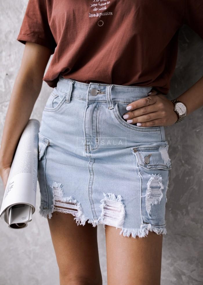 Spódniczka jeansowa z kieszeniami i przetarciami - POCKET