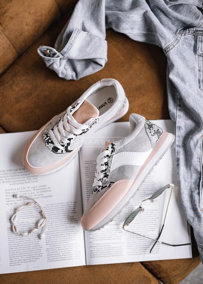 Buty sportowe adidasy szaro - różowe - GYM PINK-GREY