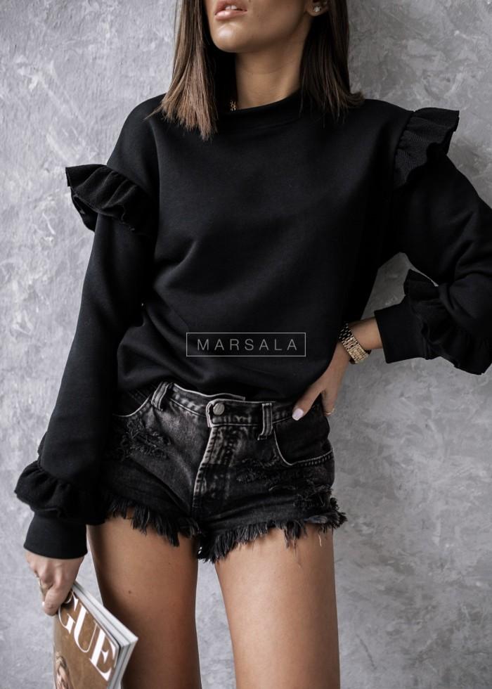 Bluza z ozdobną falbanką w kolorze czarnym - LASH