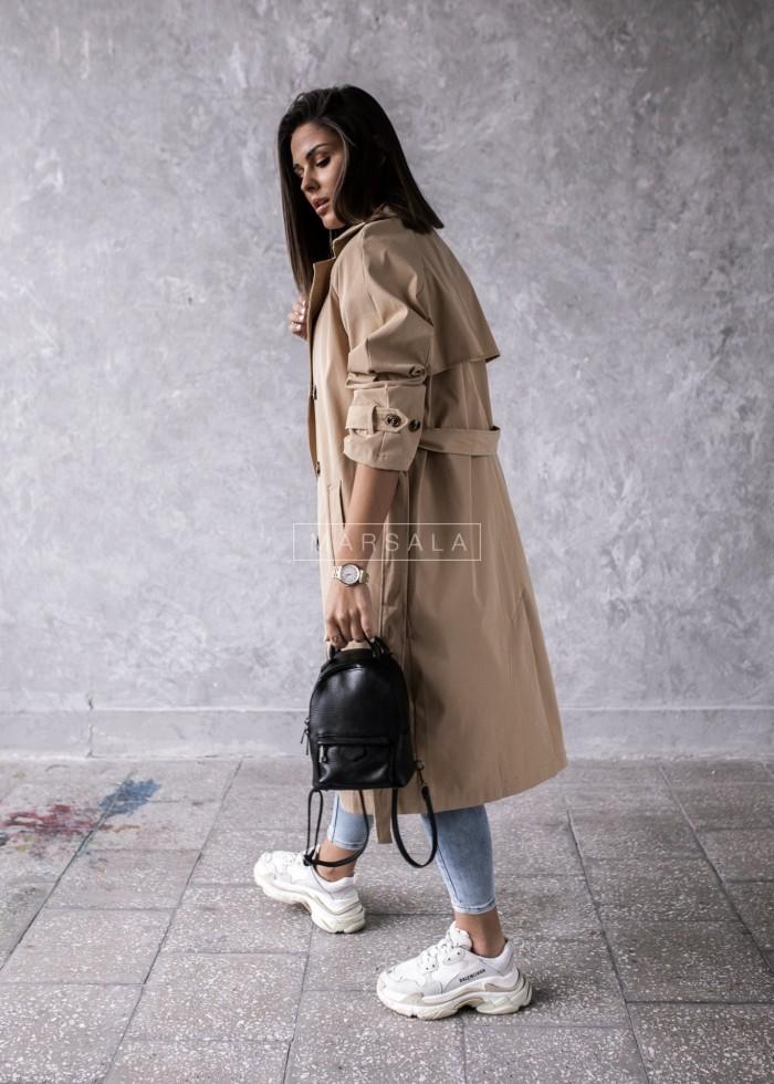 Płaszcz trencz damski w kolorze beżowym z wiązaniem - CLARK