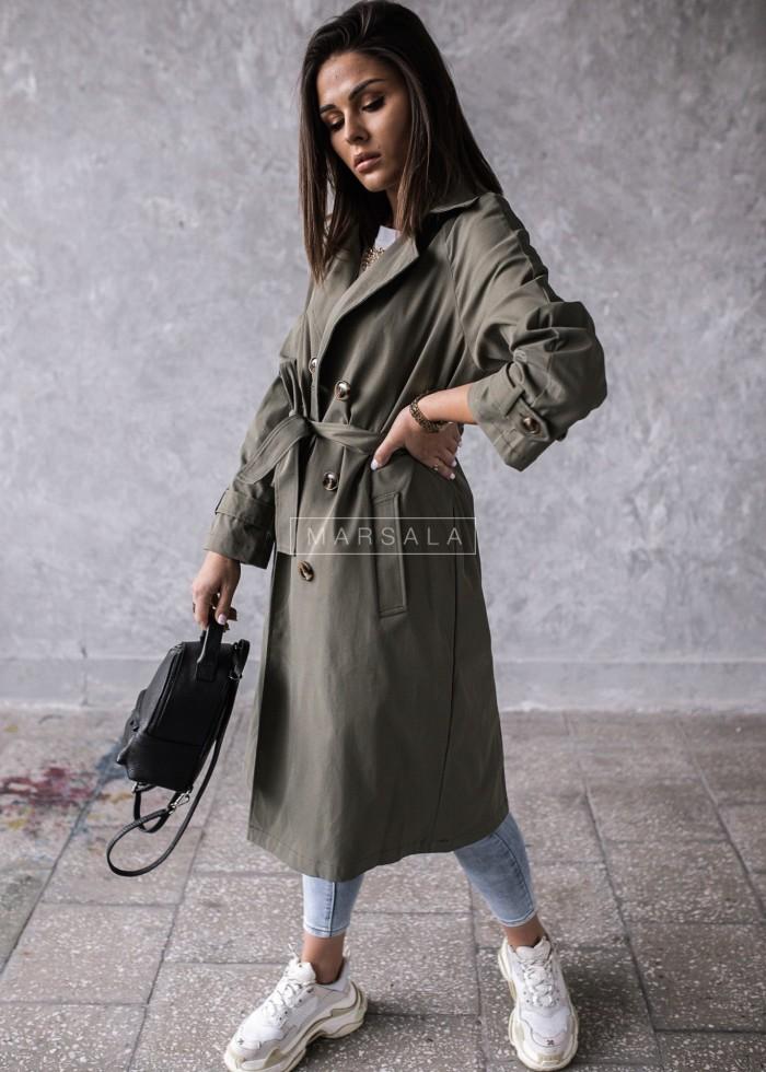 Płaszcz trencz damski w kolorze khaki z wiązaniem - CLARK