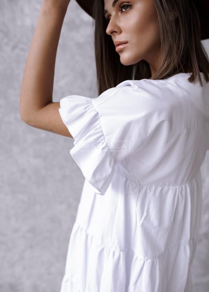 Sukienka MELANIE BY MARSALA z przeszyciami biała