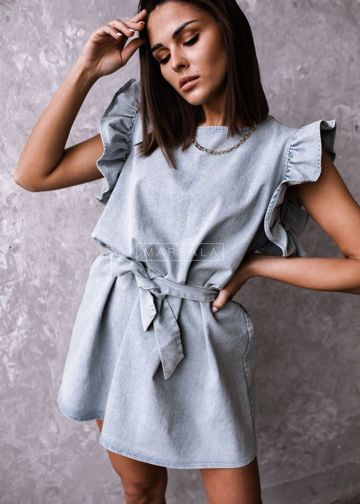 CHELSEA BY MARSALA denim washed frill dress