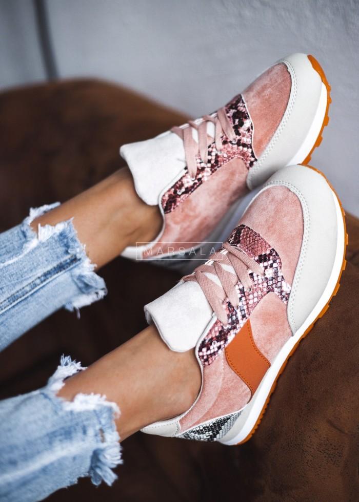 Buty sportowe adidasy różowo - beżowe - GYM BEIGE-PINK