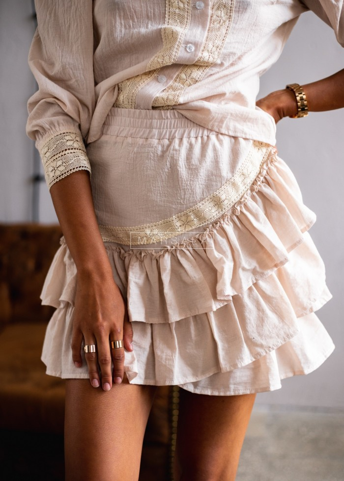 Suite skirt+blouse with frills in beige - LIVIEN BEIGE
