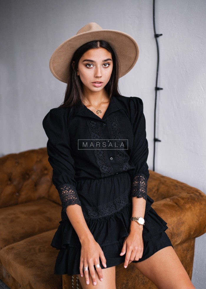 Suite skirt+blouse with frills in black - LIVIEN BLACK