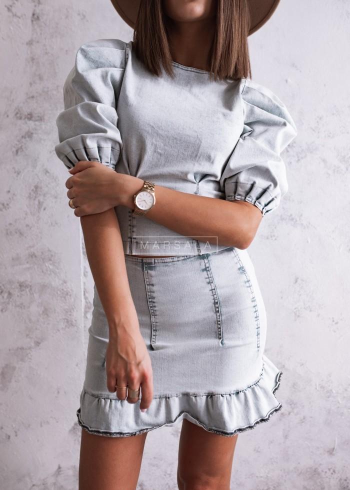 Bluzka z jasnego jeansu z bufkami - DENIM GIRL by MARSALA
