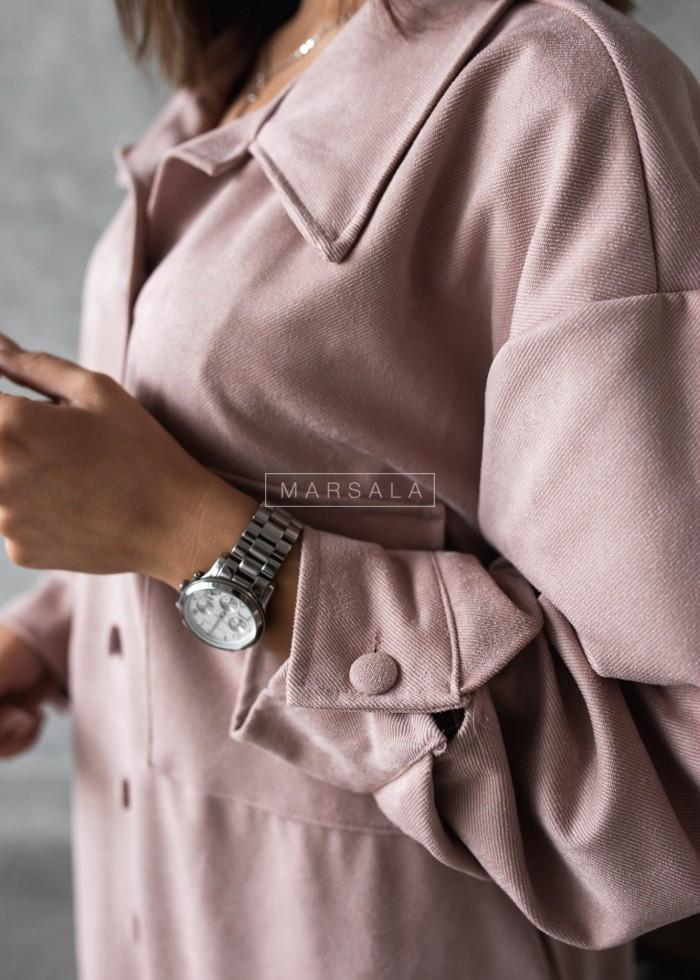 Koszula sztruksowa oversize pudrowy róż ala zamsz - GIORGIA