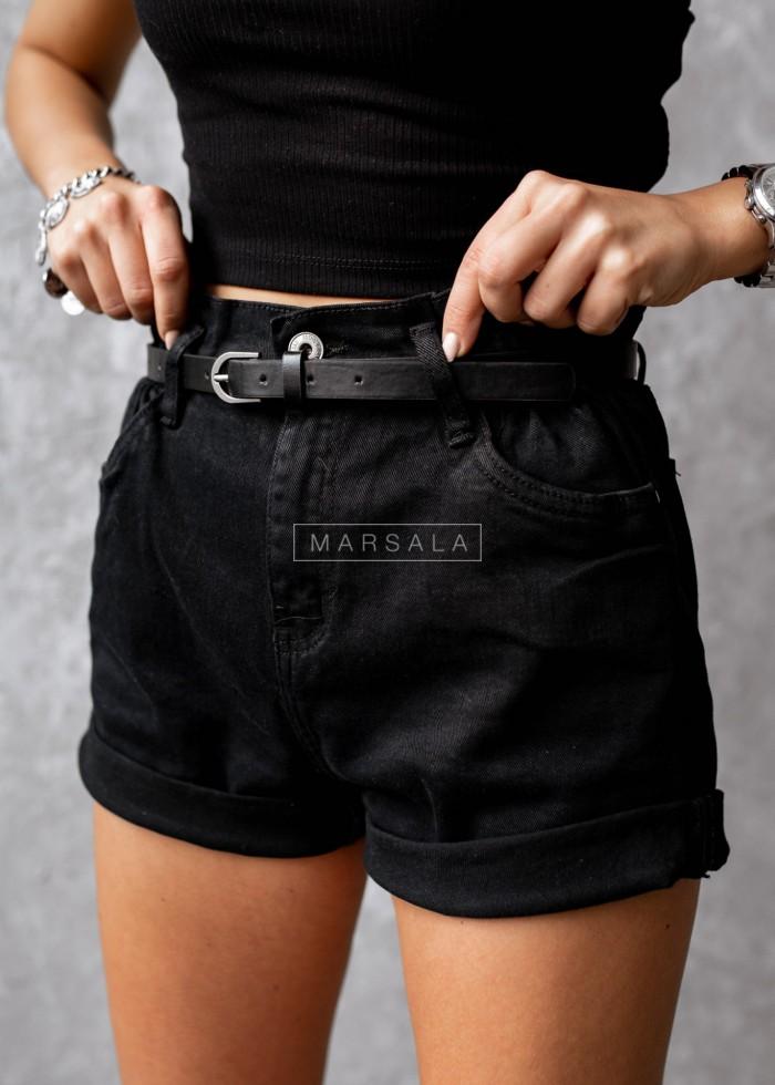 Spodenki z paskiem czarny jeans - ANDY BLACK