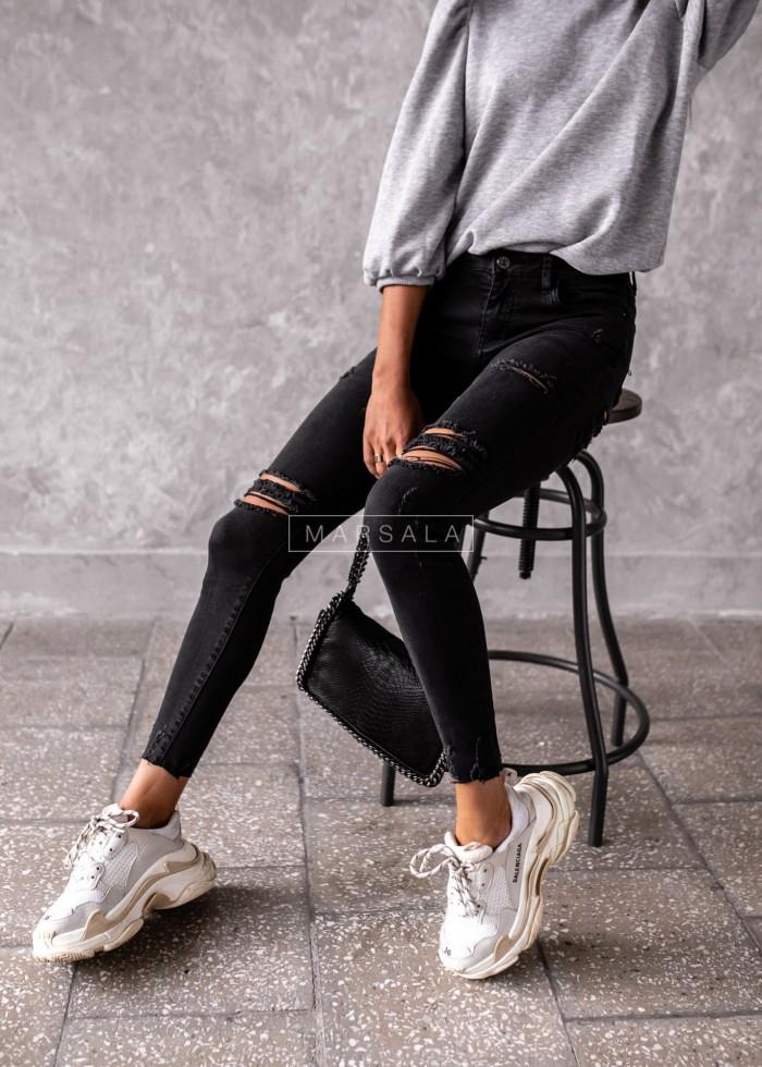 Spodnie jeansowe czarne z dziurami - BACK TO BLACK