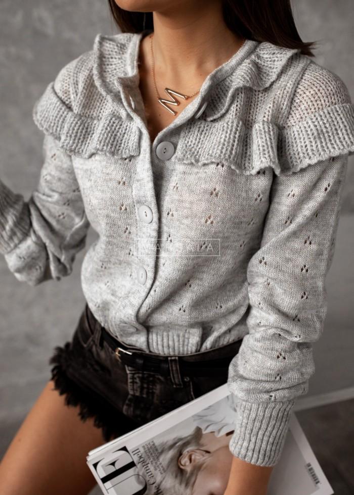 Sweterek kardigan ażurowy kolor szary - PUEBLO