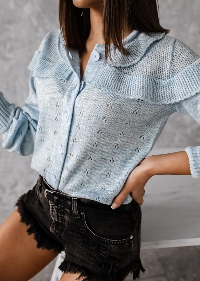 Sweterek kardigan ażurowy kolor błękitny - PUEBLO