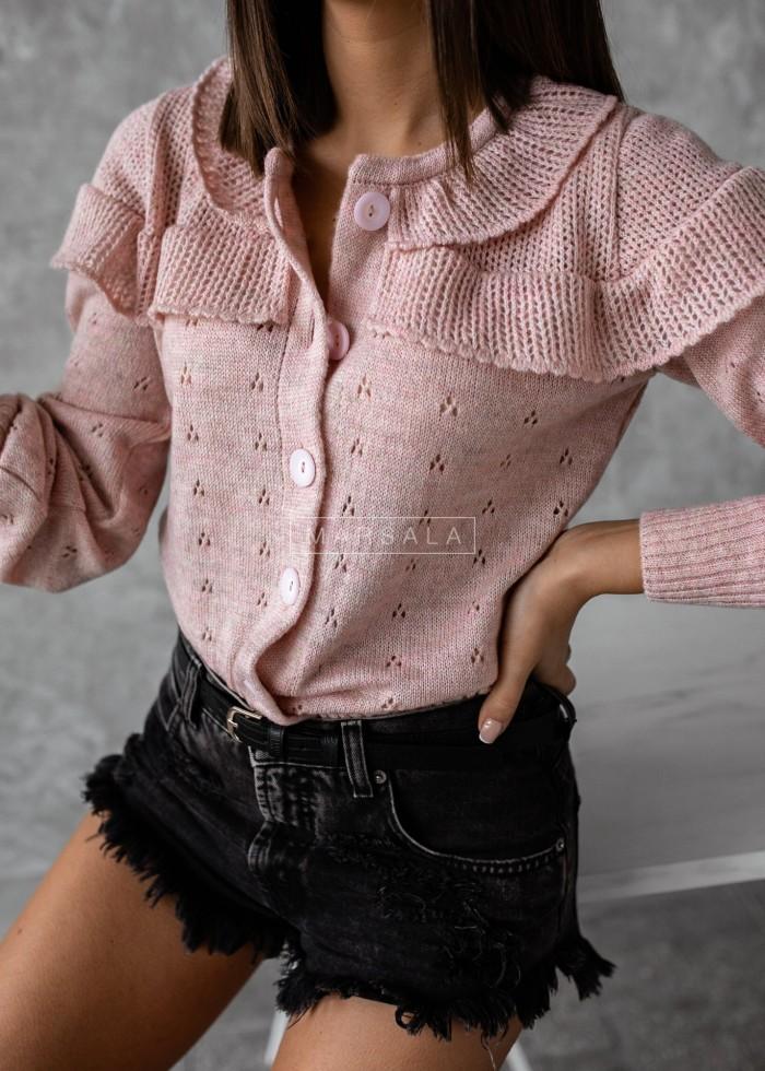 Sweterek kardigan ażurowy kolor pudrowy róż - PUEBLO